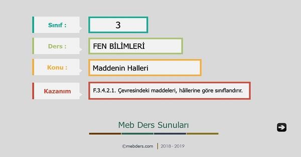 3.Sınıf Fen Bilimleri Maddenin Halleri Sunusu