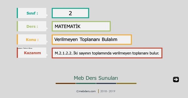 2.Sınıf Matematik Verilmeyen Toplananı Bulalım Sunusu