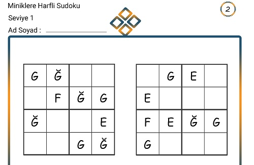 Miniklere Harfli Sudoku 2