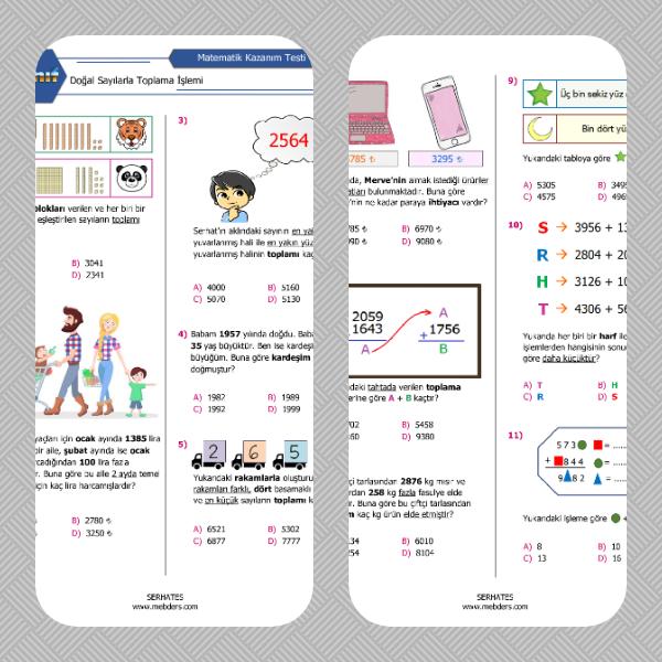 4. Sınıf Matematik Doğal Sayılarla Toplama İşlemi Kazanım Testi