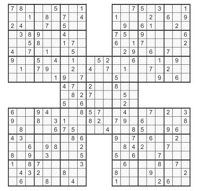 Beşli Samurai Sudoku 1