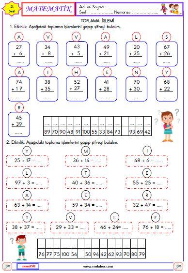 2. Sınıf Matematik Toplam İşlemi Etkinliği 1