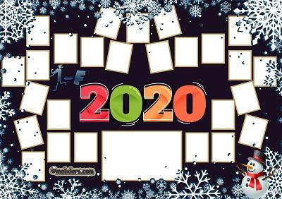 1F Sınıfı için 2020 Yeni Yıl Temalı Fotoğraflı Afiş (26 öğrencilik)
