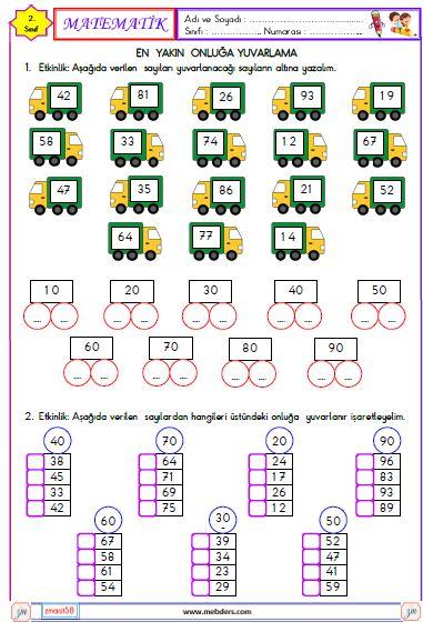 2. Sınıf Matematik En Yakın Onluğa Yuvarlama Etkinliği 1