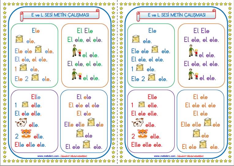 1.Sınıf E ve L Sesi Metin Çalışması
