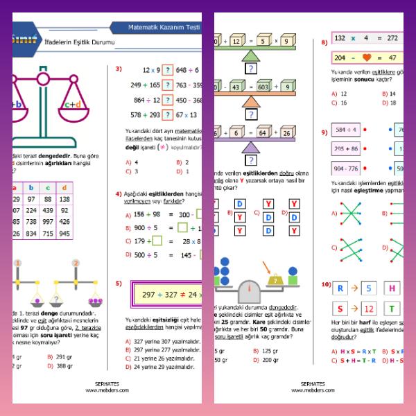 4. Sınıf Matematik İfadelerin Eşitlik Durumu Kazanım Testi