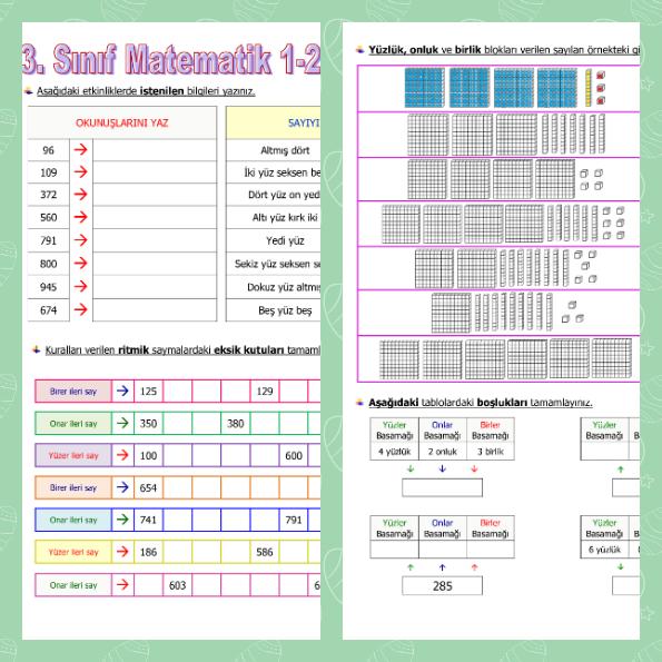 3. Sınıf Matematik 1. ve 2. Hafta Tekrar Etkinliği