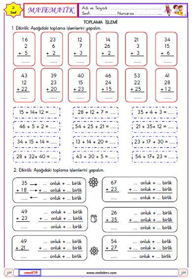 2. Sınıf Matematik Toplam İşlemi Etkinliği 2