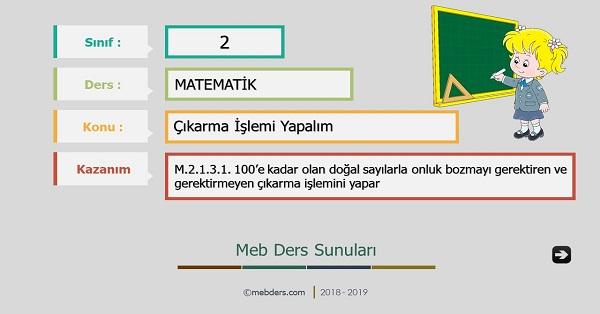 2.Sınıf Matematik Çıkarma İşlemi Yapalım Sunusu