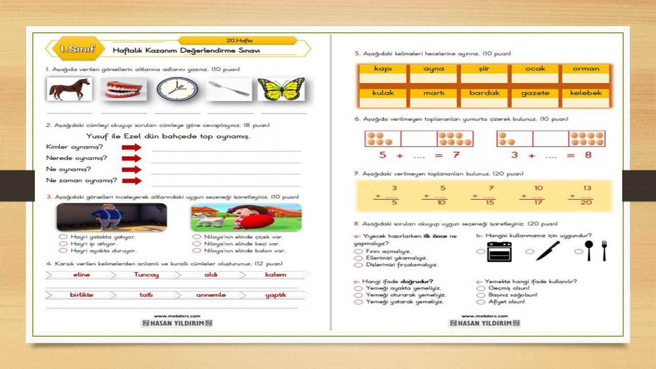 1.Sınıf Haftalık Değerlendirme Sınavı-20.Hafta(01-05 Mart)