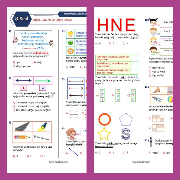3. Sınıf Matematik Doğru Işın Açı ve Doğru Parçası Kazanım Testi