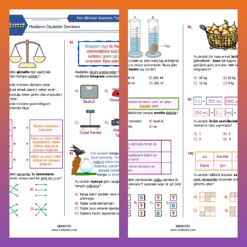 4. Sınıf Fen Bilimleri Maddenin Ölçülebilir Özellikleri Kazanım Testi