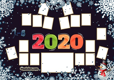 1B Sınıfı için 2020 Yeni Yıl Temalı Fotoğraflı Afiş (17 öğrencilik)