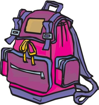 Pembe renkli okul çantası png