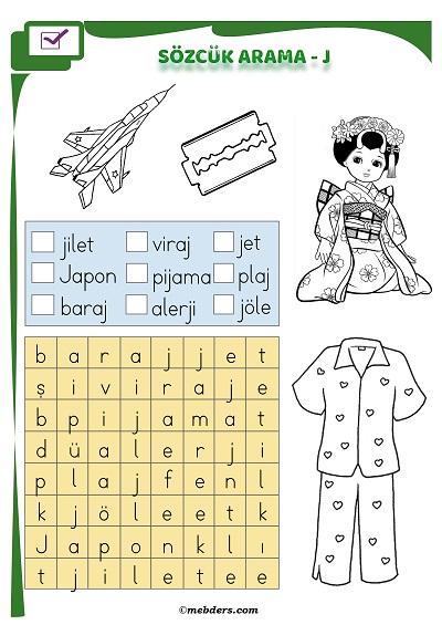 1.Sınıf İlkokuma Boyamalı Sözcük Arama Etkinliği - J Sesi