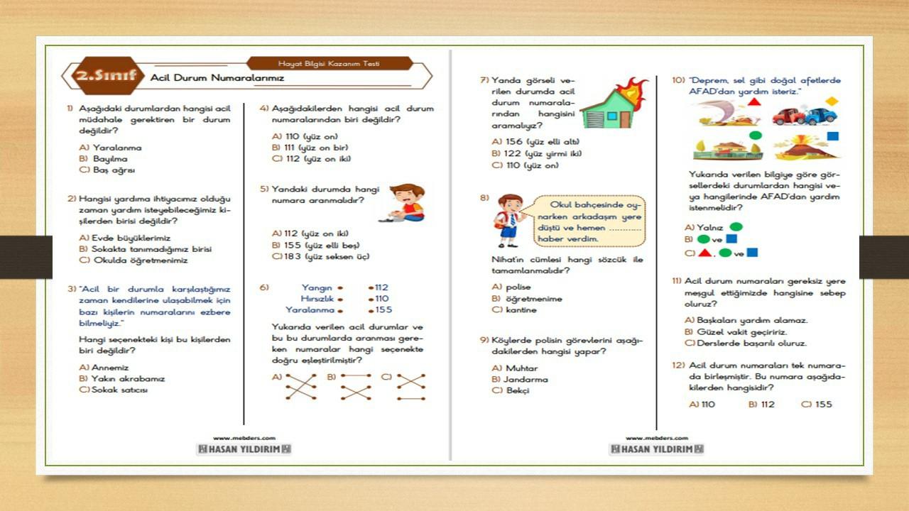 2.Sınıf Hayat Bilgisi Acil Durum Numaralarımız Testi