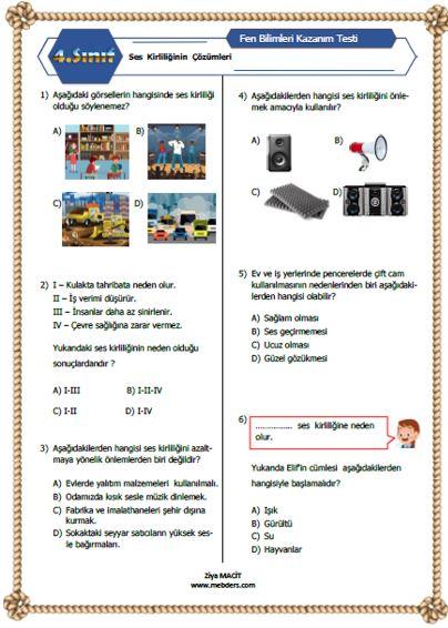 4. Sınıf Fen Bilimleri  Ses Kirliliğinin Çözümleri Kazanım Testi