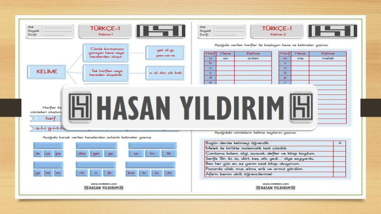 1.Sınıf Türkçe Kelime Bilgisi Etkinlik Sayfaları
