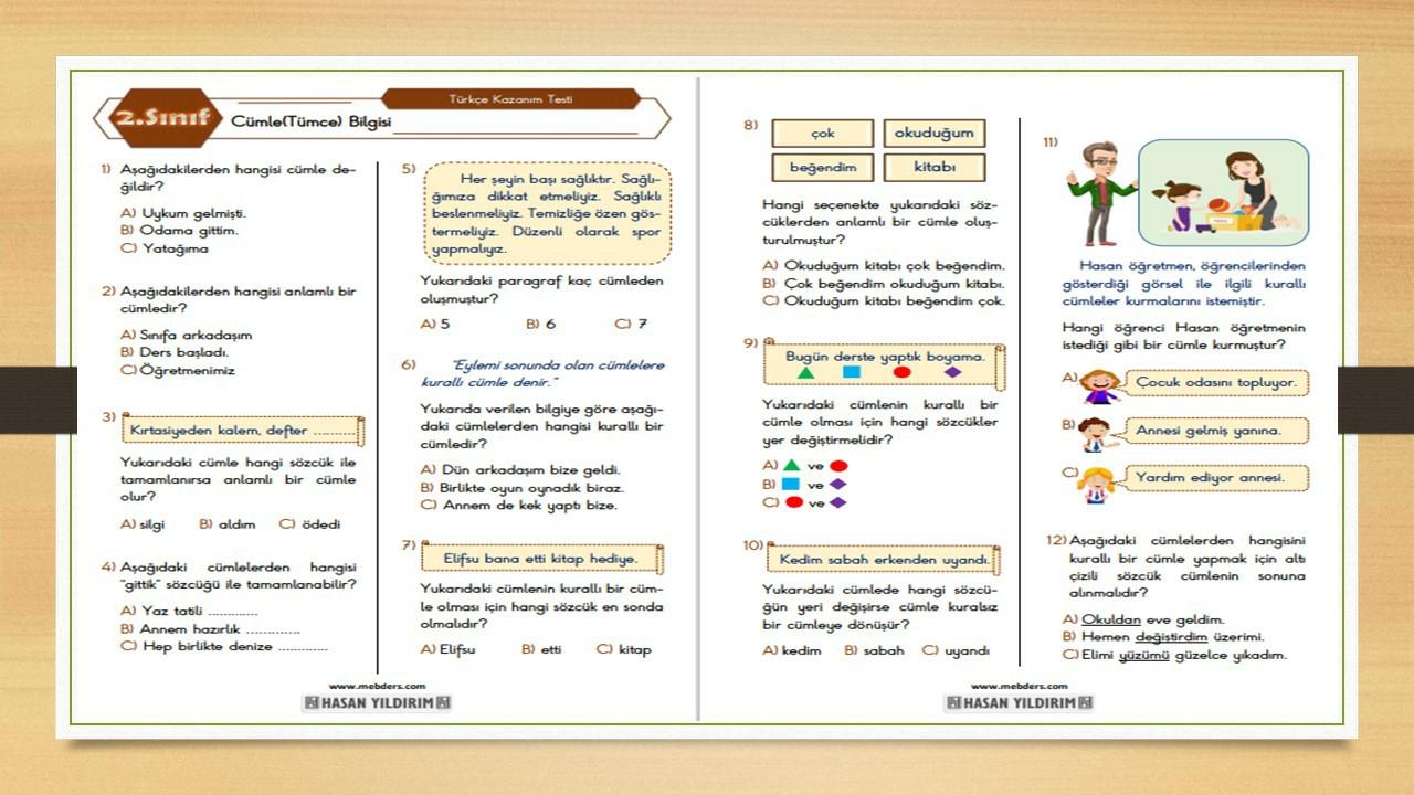 2.Sınıf Türkçe Cümle Bilgisi Testi