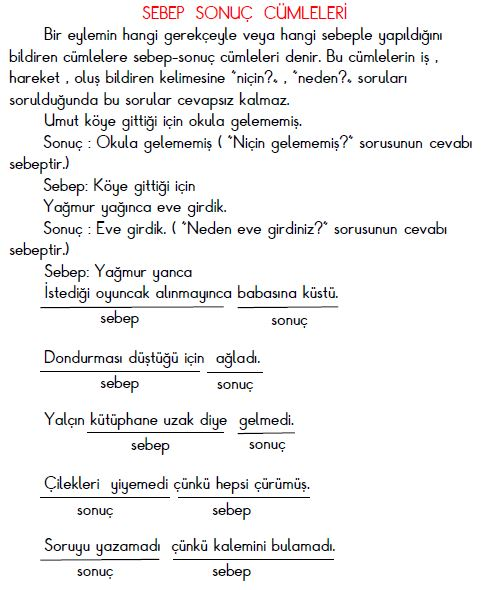 3. Sınıf Türkçe  Sebep  Sonuç Cümleleri Konu Anlatımı  ve Özeti