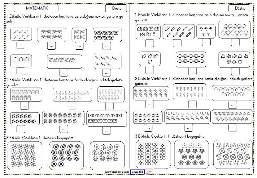 2. Sınıf Matematik Deste ve Düzine Etkinliği 2