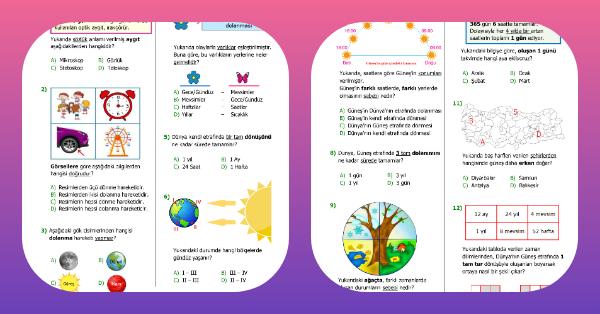 4. Sınıf Fen Bilimleri Dünya'mızın Hareketleri Kazanım Testi