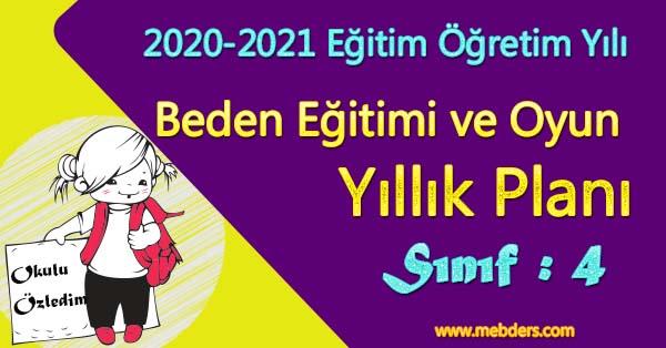 2020 - 2021 Yılı 4.Sınıf Beden Eğitimi ve Oyun Yıllık Planı