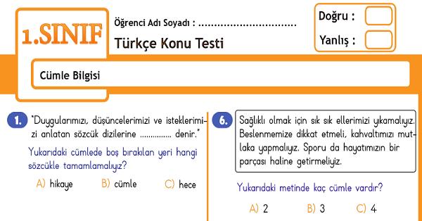 1.Sınıf Türkçe Cümle Bilgisi Konu Tarama Testi