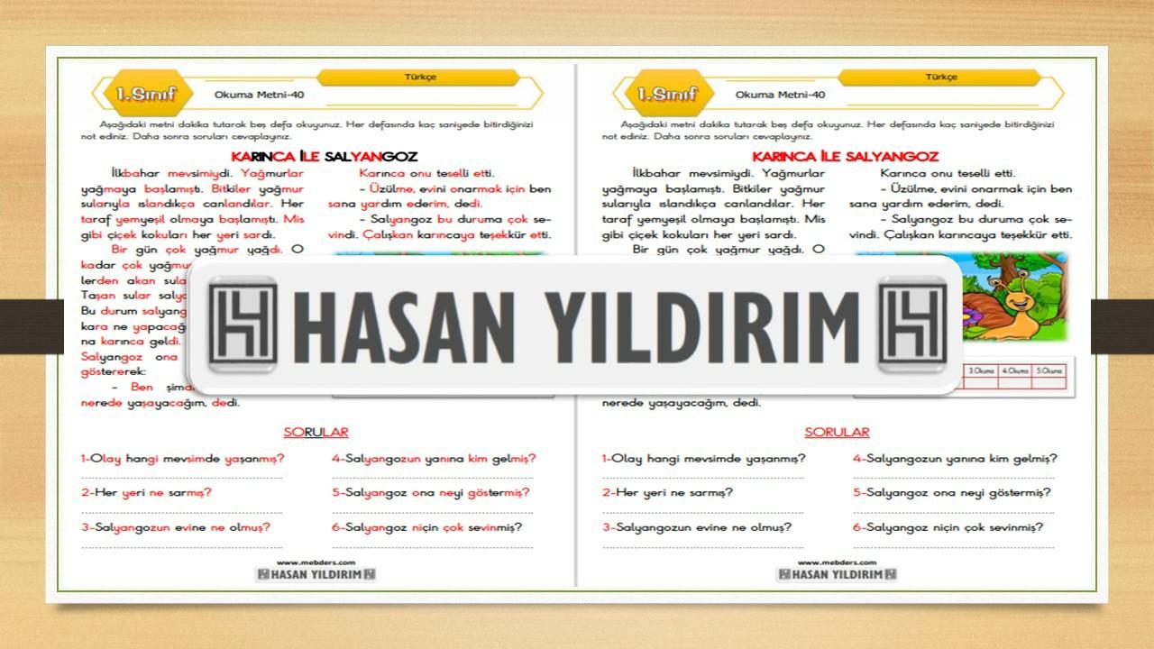 1.Sınıf Türkçe Okuma Metni-40 (Karınca ile Salyangoz)