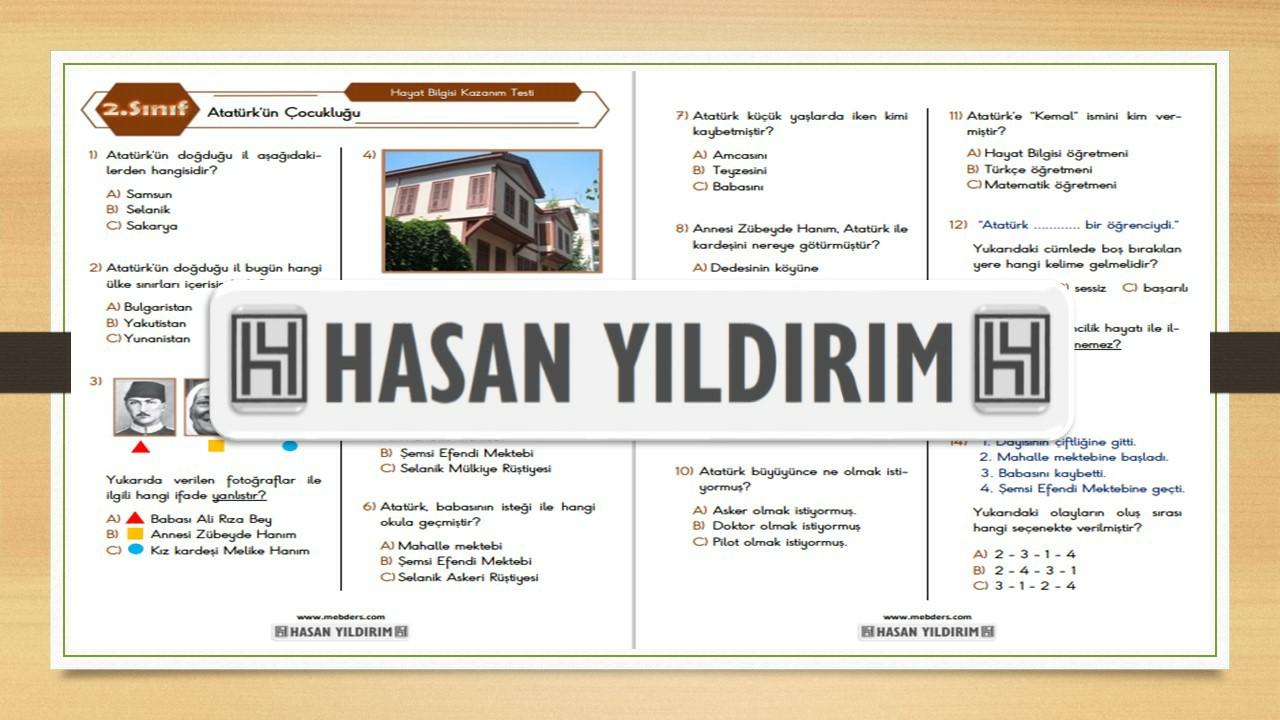 2.Sınıf Hayat Bilgisi Atatürk'ün Çocukluğu Testi