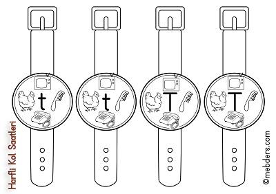 1.Sınıf İlkokuma Harfli Kol Saatleri - T Harfi