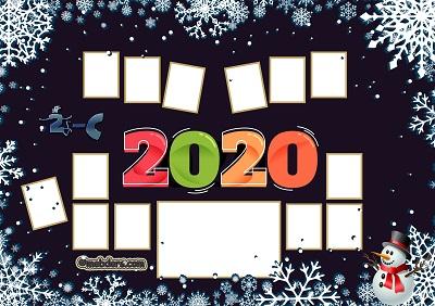 2C Sınıfı için 2020 Yeni Yıl Temalı Fotoğraflı Afiş (13 öğrencilik)