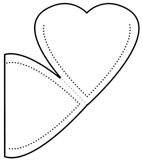 Kesik kalp cep şablon
