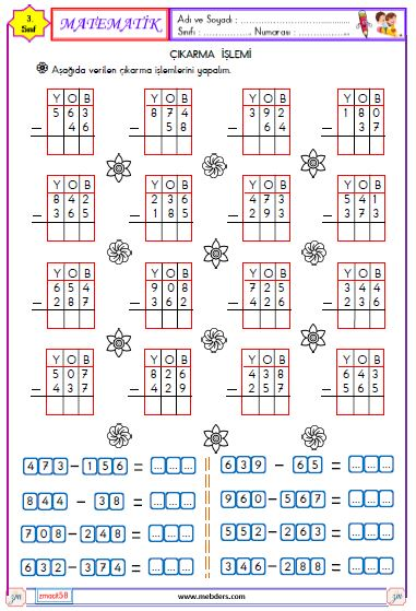 3. Sınıf Matematik Çıkarma İşlemi Etkinliği 3