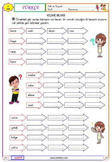 3. Sınıf Türkçe Kelime Bilgisi Etkinliği