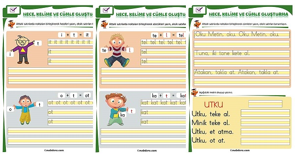 1.Sınıf İlk Okuma T Sesi Birleştirme Etkinliği