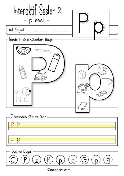 1.Sınıf İlk Okuma İnteraktif p sesi etkinliği 2