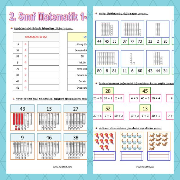 2. Sınıf Matematik 1. ve 2. Hafta Tekrar Etkinliği