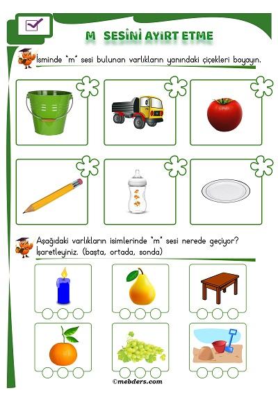 1.Sınıf İlkokuma M Sesi Ayırt Etme Etkinliği