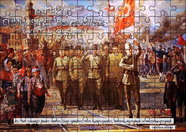 Cumhuriyet Panosu Puzzle Poster - 97.Yıl (96 Parça)