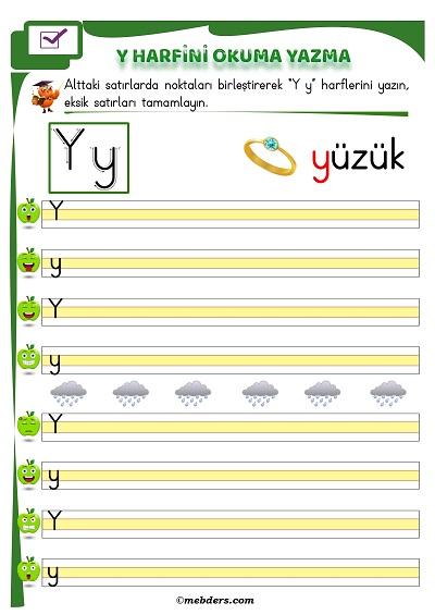1.Sınıf İlkokuma Y Sesi Okuma Yazma Etkinliği