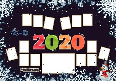 2D Sınıfı için 2020 Yeni Yıl Temalı Fotoğraflı Afiş (14 öğrencilik)