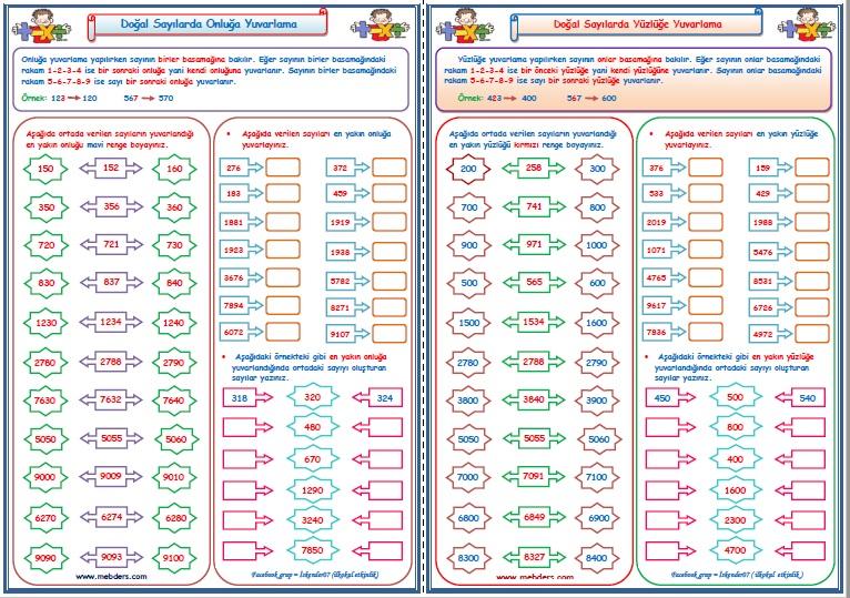 4.Sınıf Matematik Doğal Sayılarda En Yakın Onluğa ve Yüzlüğe Yuvarlama