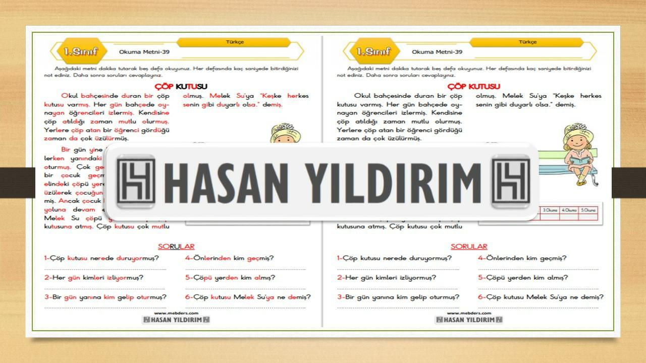 1.Sınıf Türkçe Okuma Metni-39 (Çöp Kutusu)