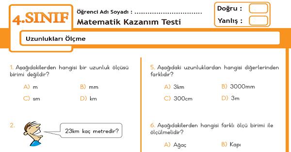 4.Sınıf Matematik Uzunlukları Ölçme Kazanım Testi