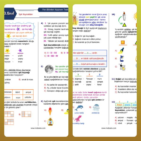 3. Sınıf Fen Bilimleri Işık Kaynakları Kazanım Testi