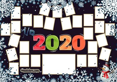 1D Sınıfı için 2020 Yeni Yıl Temalı Fotoğraflı Afiş (27 öğrencilik)