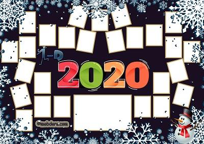 1D Sınıfı için 2020 Yeni Yıl Temalı Fotoğraflı Afiş (26 öğrencilik)