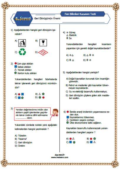 4.Sını Fen Bilimleri Geri dönüşümün Önemi Kazanım Testi