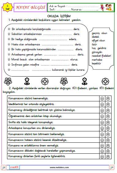 2. Sınıf Okulda İletişim Etkinliği
